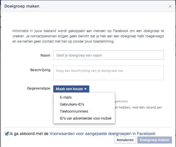Adverteren op emailadres-telefoonnummer-gebruikers-id in Facebook