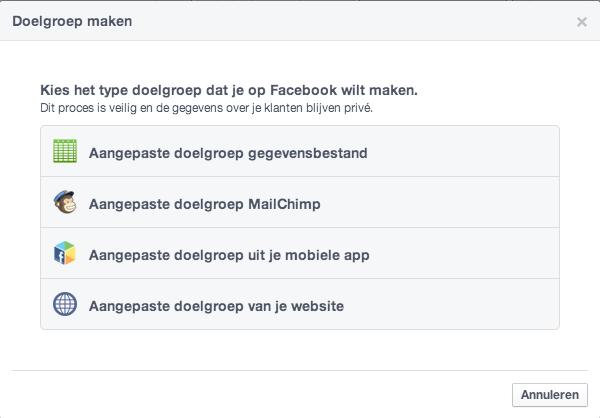 Adverteren op specifieke doelgroep in Facebook
