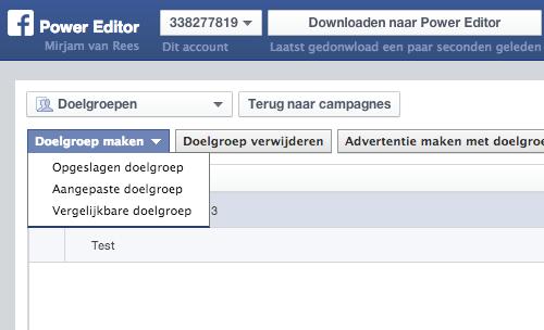 Nieuwe doelgroep aanmaken Facebook Power editor
