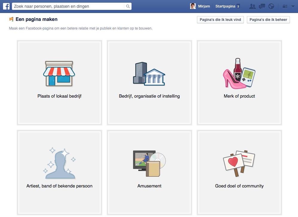 Facebook pagina aanmaken stap 1