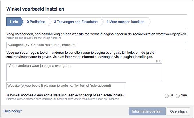 Facebook pagina aanmaken stap 2