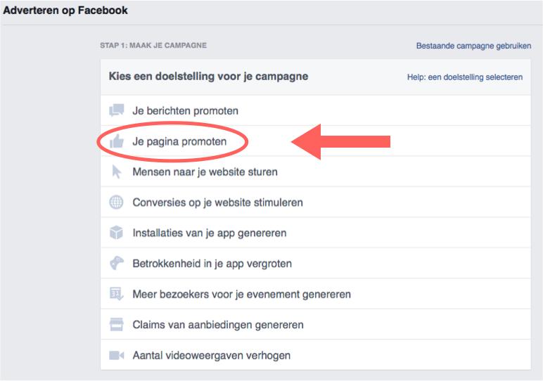 Stap 2 Facebook pagina te promoten in een advertentie