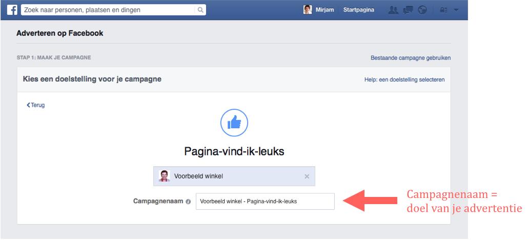 Stap 3 Facebook pagina te promoten in een advertentie