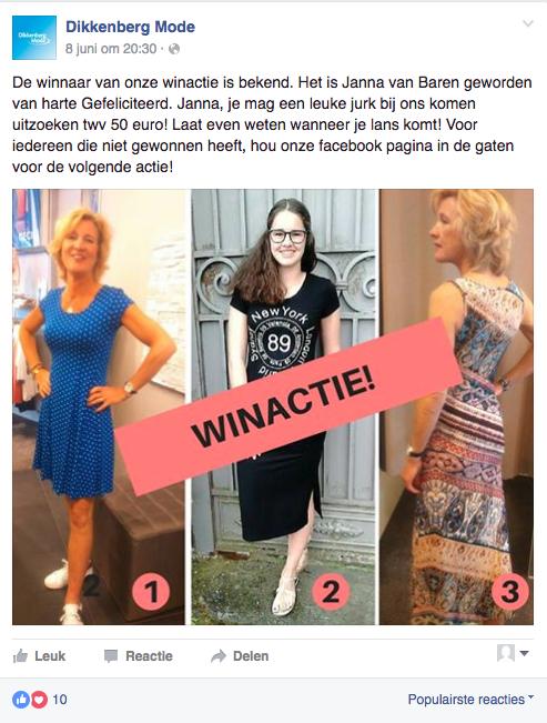 Dikkenberg Mode bekend maken winnaar