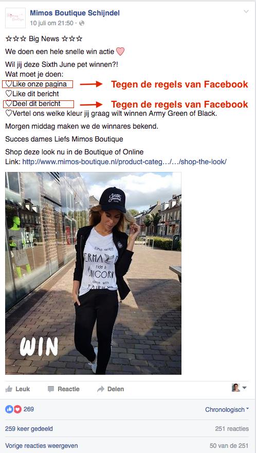 Winacties op Facebook. Dit mag niet